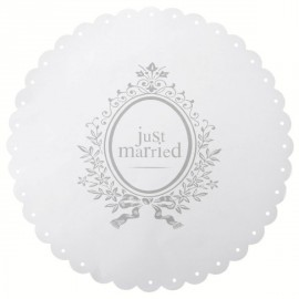 6 Sets de Table Just Married Blancs Ronds 34 cm