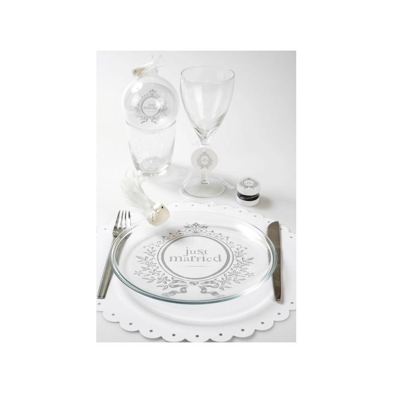 Set de table just married blanc rond festonn baroque 34 for Set de table blanc