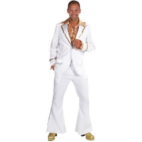 Costume de déguisement Disco Blanc Sequin Or Luxe Homme