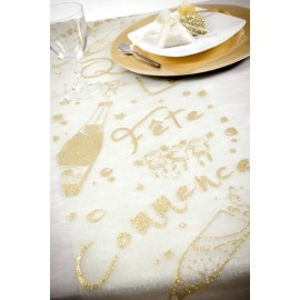 Chemin de table Fete Paillete Organdi deco table raffinee