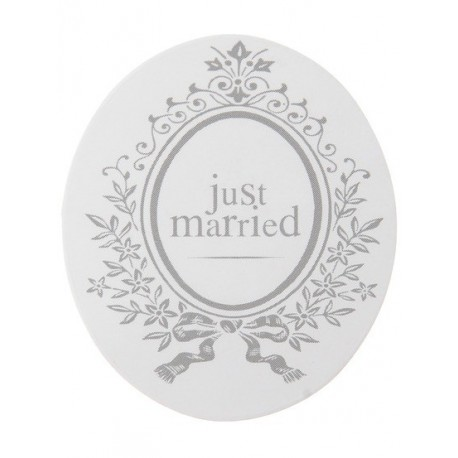 Sticker Just Married Blanc 3 cm les 50