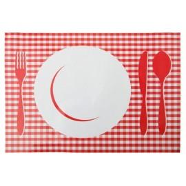 Sets de Table Vichy Rouge en Carton 30x47 cm les 6
