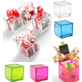 4 Boites Dragées Cube Transparent Couleur 4.5cm