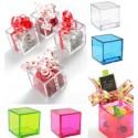 4 Boites Dragées Cube Transparent Couleur 4.5cm