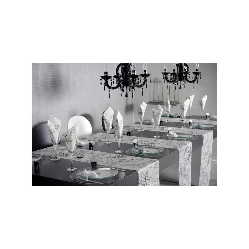 chemin de table musique intiss blanc. Black Bedroom Furniture Sets. Home Design Ideas