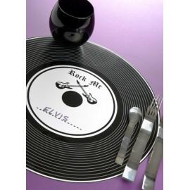 Sets de Table Disque Vinyle Noir Rock'n Roll 34 cm les 6