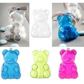 Boîte à dragées ours transparent couleur 7.9 cm les 4