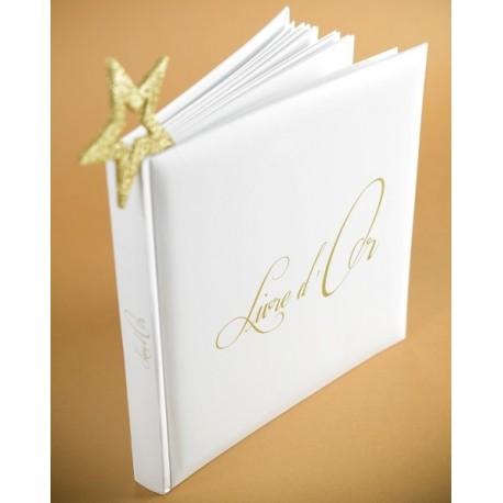 Livre d'or Blanc Inscription Livre d'Or Or en Relief