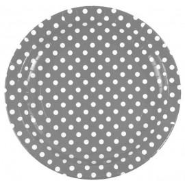 Assiette carton gris à pois blancs 23 cm les 10