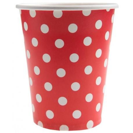 Gobelets Carton Rouge A Pois Blanc les 10