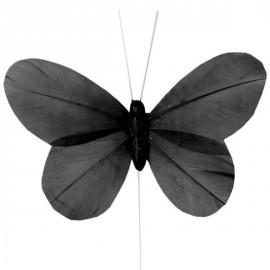 6 Papillons Noir Uni en Plumes sur Tige