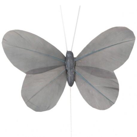 6 Papillons Gris Uni en Plumes sur Tige