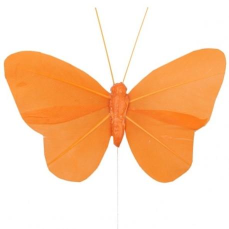 6 Papillons Orange Uni en Plumes sur Tige