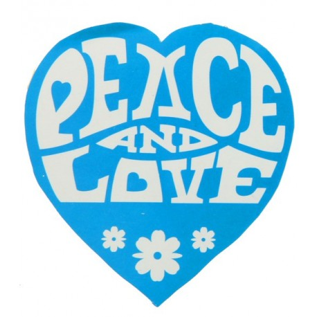 50 Stickers Hippie Coeur Turquoise Peace and Love