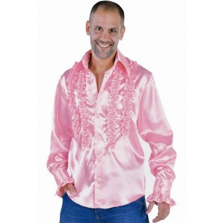 Chemise Disco Rose Deluxe Homme Déguisement Adulte