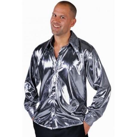 Déguisement chemise disco argent homme