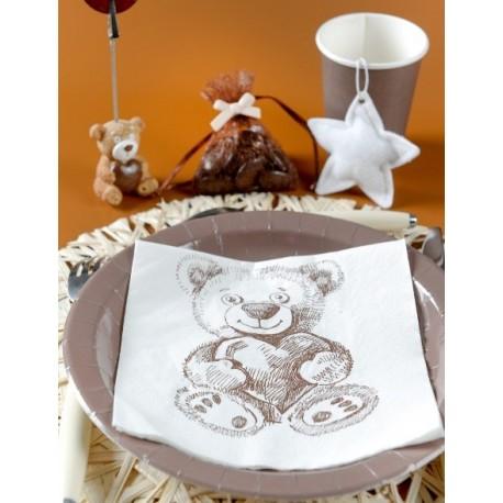 Serviettes de Table Ourson Blanc Cassé les 20