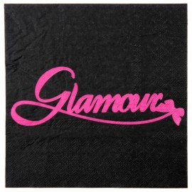 Serviette de table Glamour noir fuchsia en papier les 20