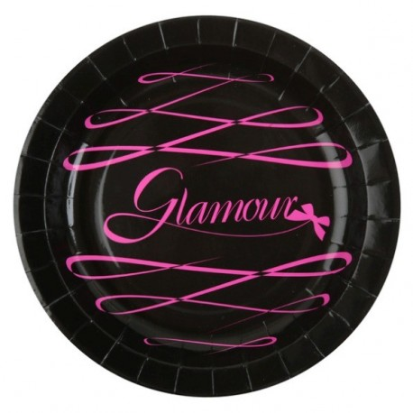 Assiettes Glamour Carton Noir Fuschia 23 cm les 10