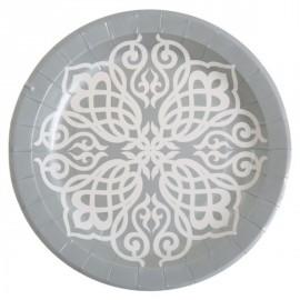 Assiette Motif Oriental carton argent 23 cm les 10