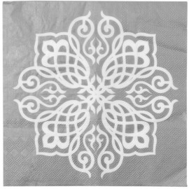 Serviettes de table Motif Oriental argent les 20