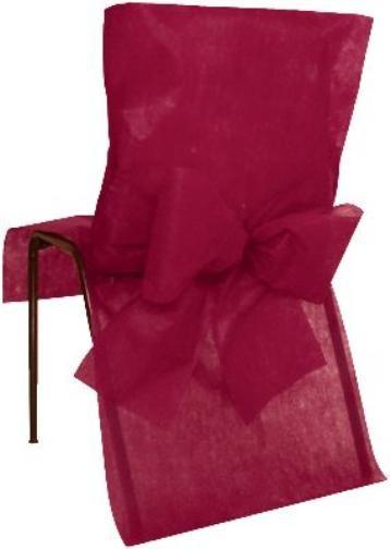 Housse de chaise intiss bordeaux avec noeuds intiss for Housse de chaise pas cher