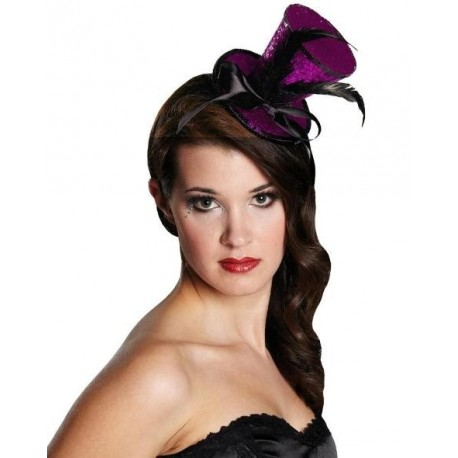 Mini chapeau haut de forme pink lurex sequin ladies