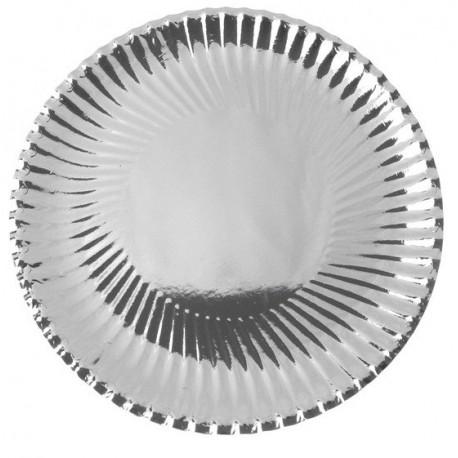 Assiette Carton Métallisé Argent Ronde 23 cm les 10