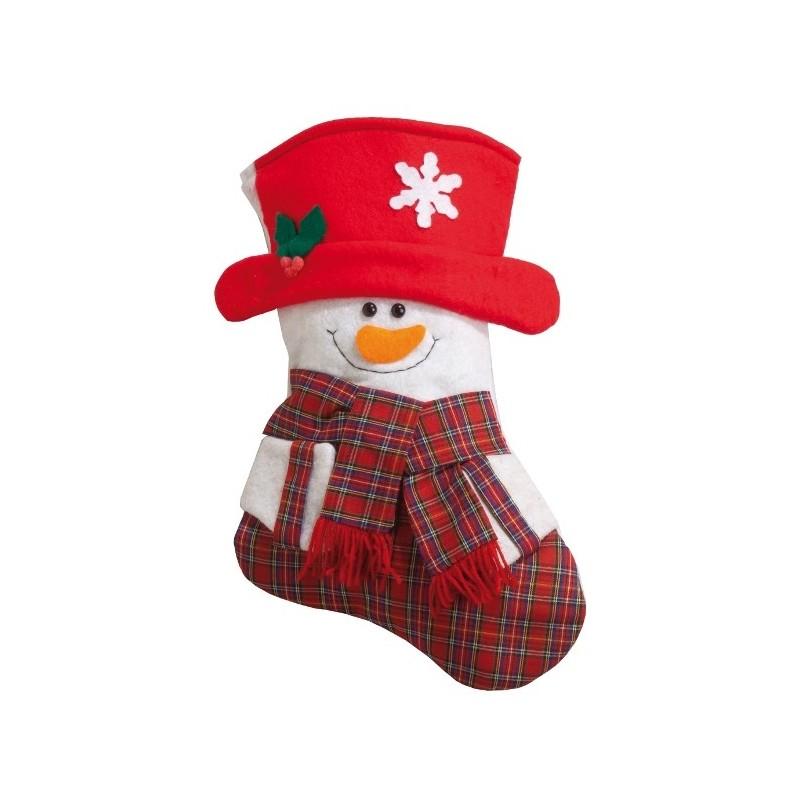 chaussette de no l bonhomme de neige d co de no l 34 cm