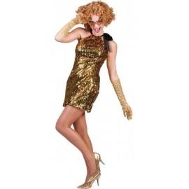 Déguisement diva robe or noire a sequin deluxe femme