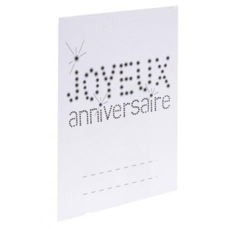 6 Marque place Chevalet Joyeux Anniversaire Blanc