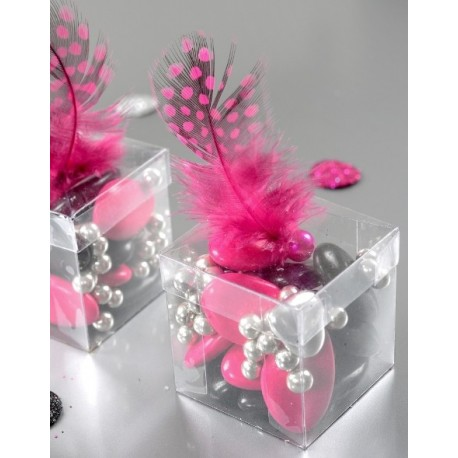 Boîte à dragées cube transparent 4 cm les 6