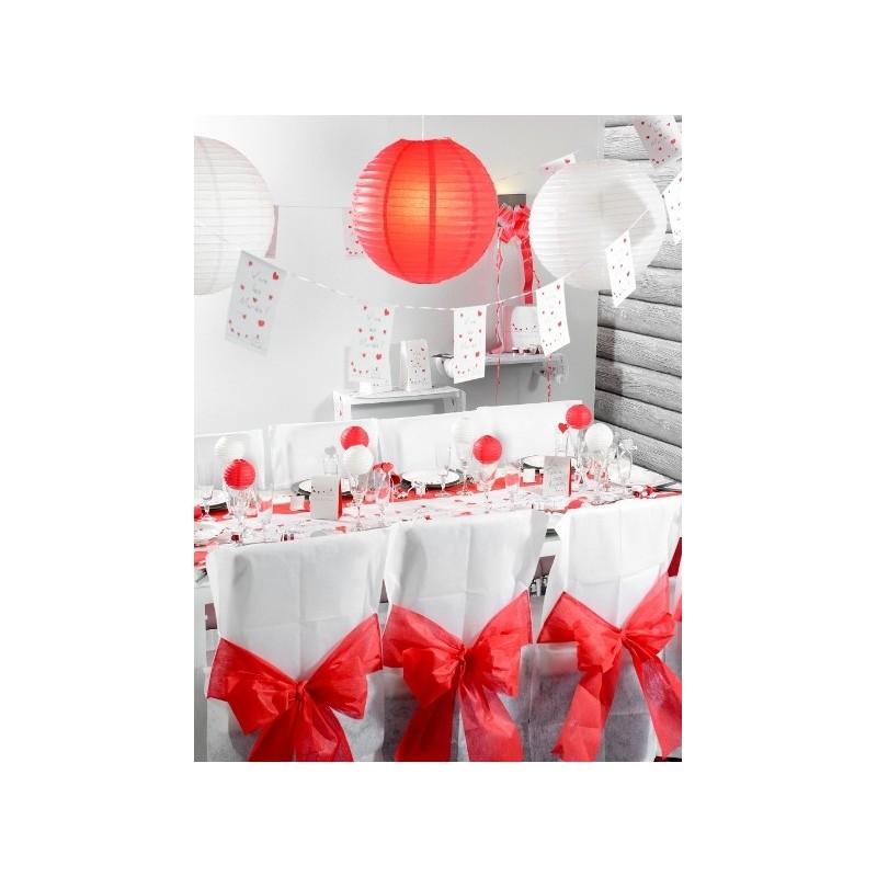 Lanterne boule chinoise papier rouge 50 cm - Boule papier chinoise ...