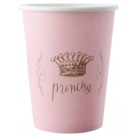 Gobelets Princesse carton rose les 6