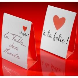 Marque table A la folie coeur rouge les 6