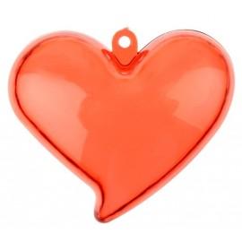 Boites à dragées coeur plexi rouge transparent 6 cm les 4