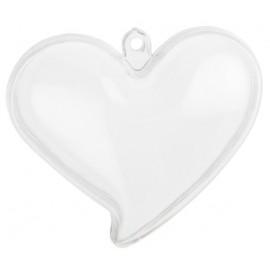 Boites à dragées coeur plexi transparent 6 cm les 4 p