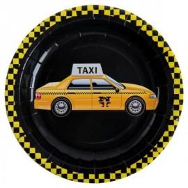 Assiettes New York Taxi Carton Noir 23 cm les 10