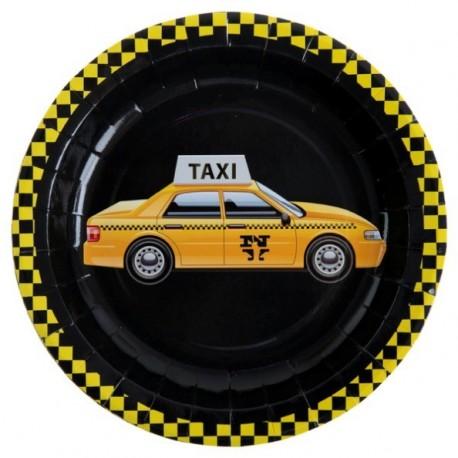 Assiette New York Taxi Carton Noir 23 cm les 10