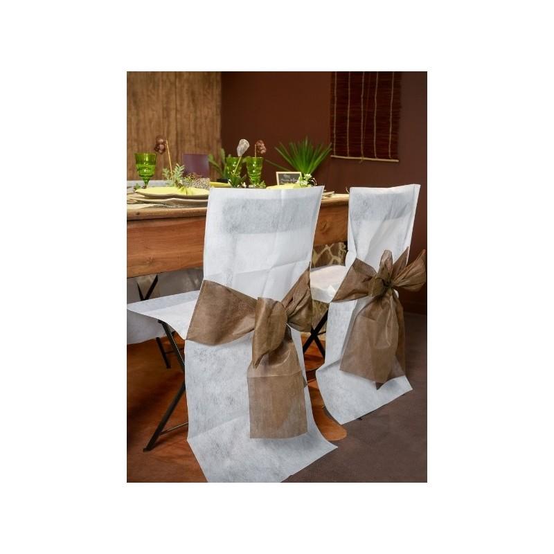 Housse de chaise intiss blanc noeud chocolat les 10 for Housse de chaise blanc