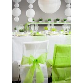 Housse de chaise intissé blanc noeud vert anis les 10