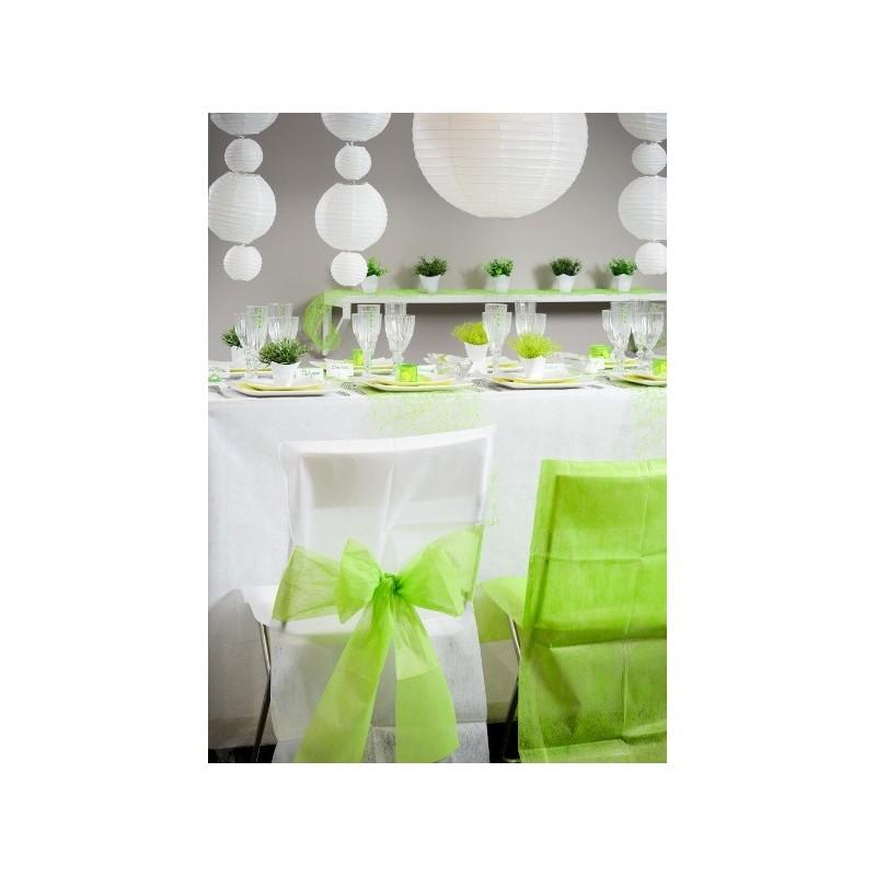 Housse de chaise intiss blanc noeud vert anis les 10 for Housse de chaise blanc