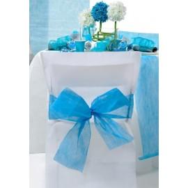 Housses de chaise intissé blanc noeud turquoise les 10