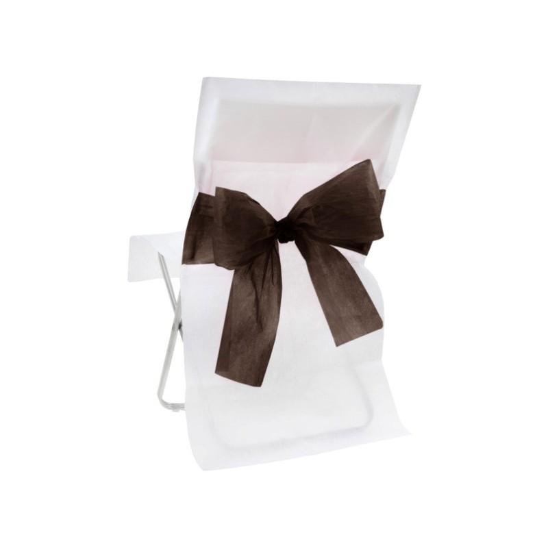 Housse de chaise intiss blanc noeud noir les 10 - Housse de chaise blanc ...