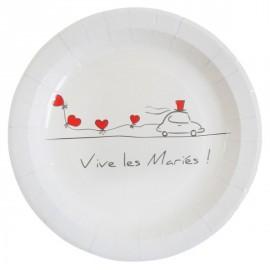 Assiettes Vive les mariés Carton Blanc 23 cm les 10