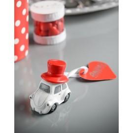 Marque place voiture Vive les Mariés avec coeur rouge