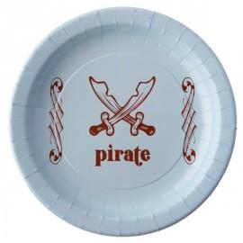 Assiettes Pirate Carton Bleu ciel 22.5 cm les 6
