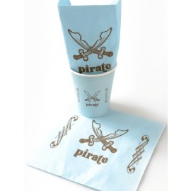Serviettes de table Pirate bleu ciel les 20