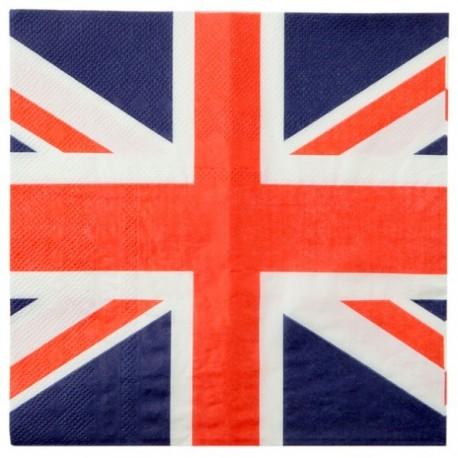 Serviette de table Angleterre drapeau Anglais les 20