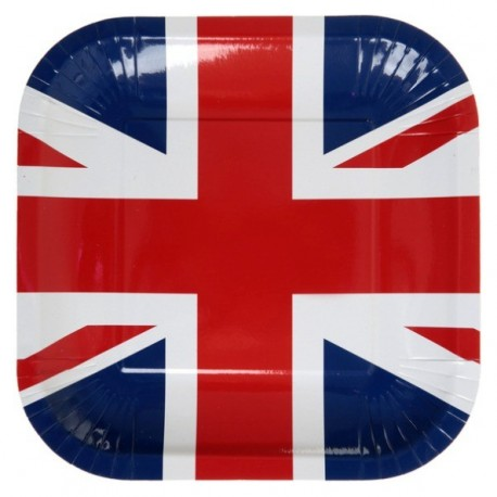 Assiettes Angleterre drapeau Anglais 23 cm les 10